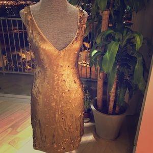 NWT Arden B gold sequin cocktail dress